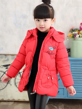 Ericdress Embroidery Hooded Girls Down Coat