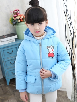 Ericdress Zipper Hooded Girls Dow Coat