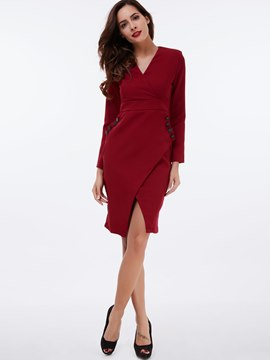 Ericdress V-Neck Button Split Sheath Dress