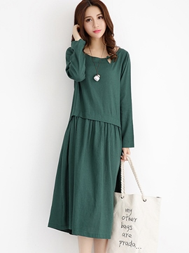 Ericdress Patchwork Pleated Maxi Casual Dress