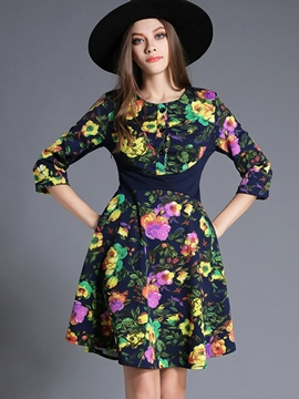 Ericdress Floral Print Button Patchwork Casual Dress