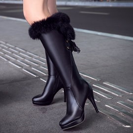 Ericdress PU Platform Thigh High Boots