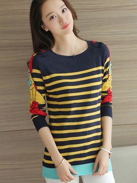 Ericdress Stripe Casual Pullover Knitwear