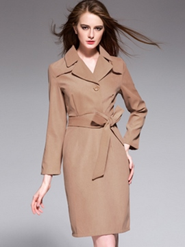 Ericdress Notched Lapel Belt Plain Sheath Dress