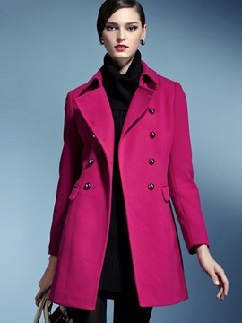 Ericdress Solid Color Double-Breasted Turn-Down Slim Coat