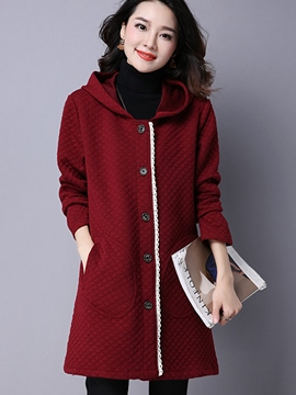Ericdress Straight Hooded Casual Trench Coat
