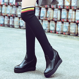 Ericdress Kintting Patchwork Wedge Heel Thigh High Boots