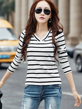 Ericdress Stripe V-Neck Long Sleeve T-Shirt