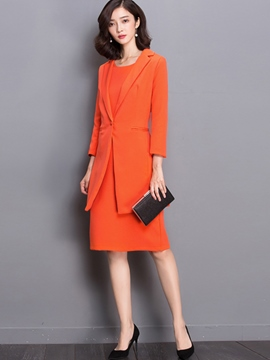 Ericdress Plain Color One Button Jacket Dress Formal Suit