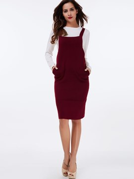 Ericdress Preppy Suspender Dress Leisure Suit