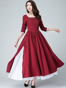 Ericdress Christmas Square Neck Falbala Patchwork Split Belt-Tied Maxi Dress