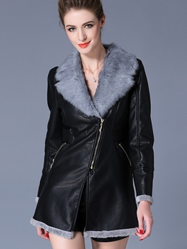 Ericdress Slim Asymmetric Zipper Faux Fur Collar Coat