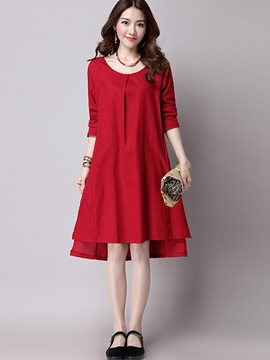 Ericdress Pleated Round Collar Trumpet Casual Dress