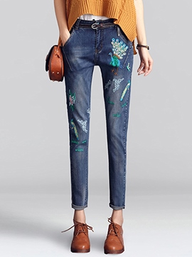 Ericdress Peacock Embroidery Worn Slim Pencil Jeans
