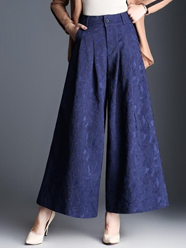 Ericdress Embroidery High-Waist Loose Wide Legs Pants