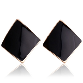Ericdress Black Rhombus Stud Earrings