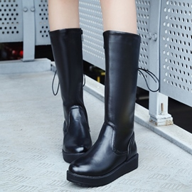Ericdress Simple PU Round Toe Knee High Boots