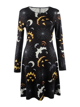 Ericdress Print Round Collar Loose Long Sleeve Pleated Casual Dress