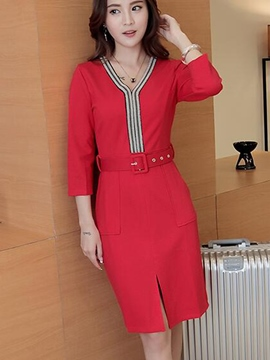 Ericdress Strip Patchwork Belt Pocket Sheath Dress