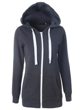 Ericdress Casual Color Block Zipper Hoodie