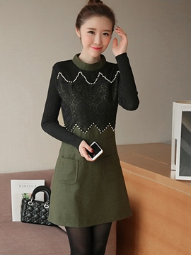 Ericdress Lace Patchwork Bead Pocket Casual Dress