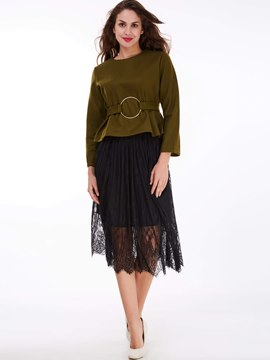 Ericdress Ladylike Lace Skirt Leisure Suit