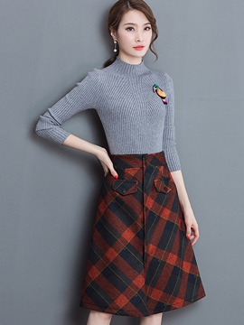 Ericdress Plaid Stripe Print Sequins Sweater Skirt Suit