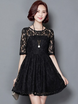 Ericdress Solid Color Falbala Hollow Half Sleeve Lace Dress