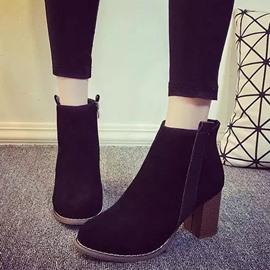 Ericdress Suede Round Toe Chunky Heel Ankle Boots