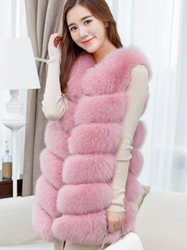 Ericdress Fluffy Multiple-Color Vest