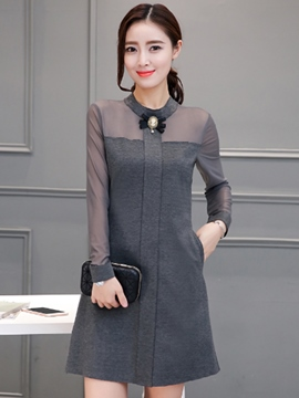 Ericdress Mesh See-Through Patchwork Cowl-Neck Casual Dress