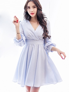 Ericdress Sweet Cross V-Neck Strip Pleated Casual Dress