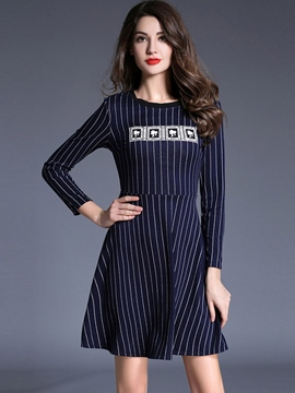Ericdress Strip Print Patchwork Pleated Casual Dress