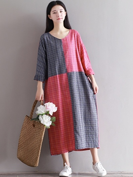Ericdress Color Block Plaid Loose Maxi Casual Dress
