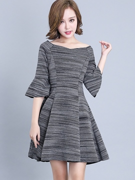 Ericdress Flare Sleeve Slash Neck Pleated Casual Dress