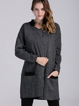 Ericdress Color Block Loose Stand Collar Coat