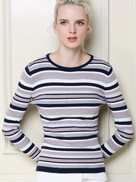 Ericdress Stirped Casual Pullover Knitwear