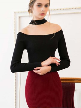 Ericdress Blacck Hollow Slim Knitwear