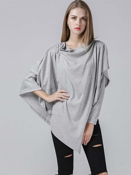 Ericdress Asymmetric Gray Caped T-Shirt