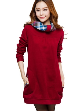 Ericdress Color Block Plaid Slim Hoodie