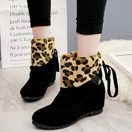Ericdress Leopard Suede Patchwork Ankle Boots