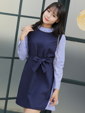 Ericdress Strip Patchwork Turtleneck Pleated Casual Dress