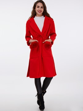 Ericdress Solid Color Polo Faux Fur Patchwork Slim Coat