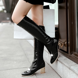 Ericdress Patent Leather Rhinestone Knee High Boots