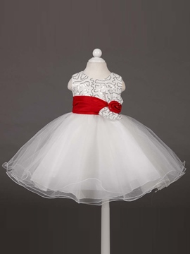 Ericdress Sequins Bow Flower Sleeveless Girl Tutu Dress