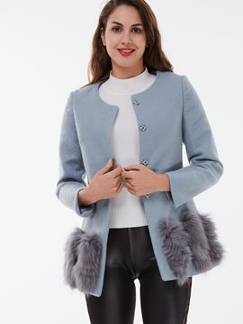 Ericdress Round Neck Faux Fur Patchwork Coat