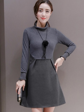 Ericdress Turtleneck Patchwork Pleated Casual Dress