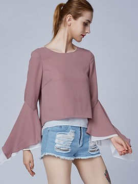 Ericdress Pink Flare Sleeve Lace Detail T-Shirt