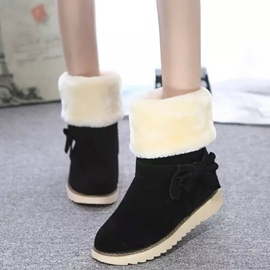 Ericdress Suede Bowtie Snow Boots