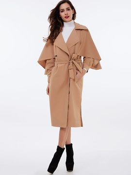 Ericdress Solid Color Slim Batwing Trench Coat